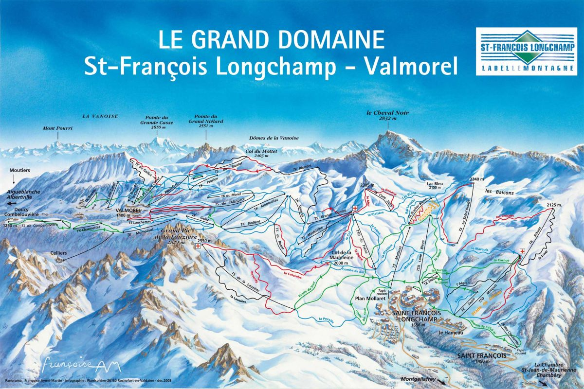 Pistenplan Skigebiet Le Grand Domaine - Valmorel - St. Francois Longchamp - Doucy - Celliers