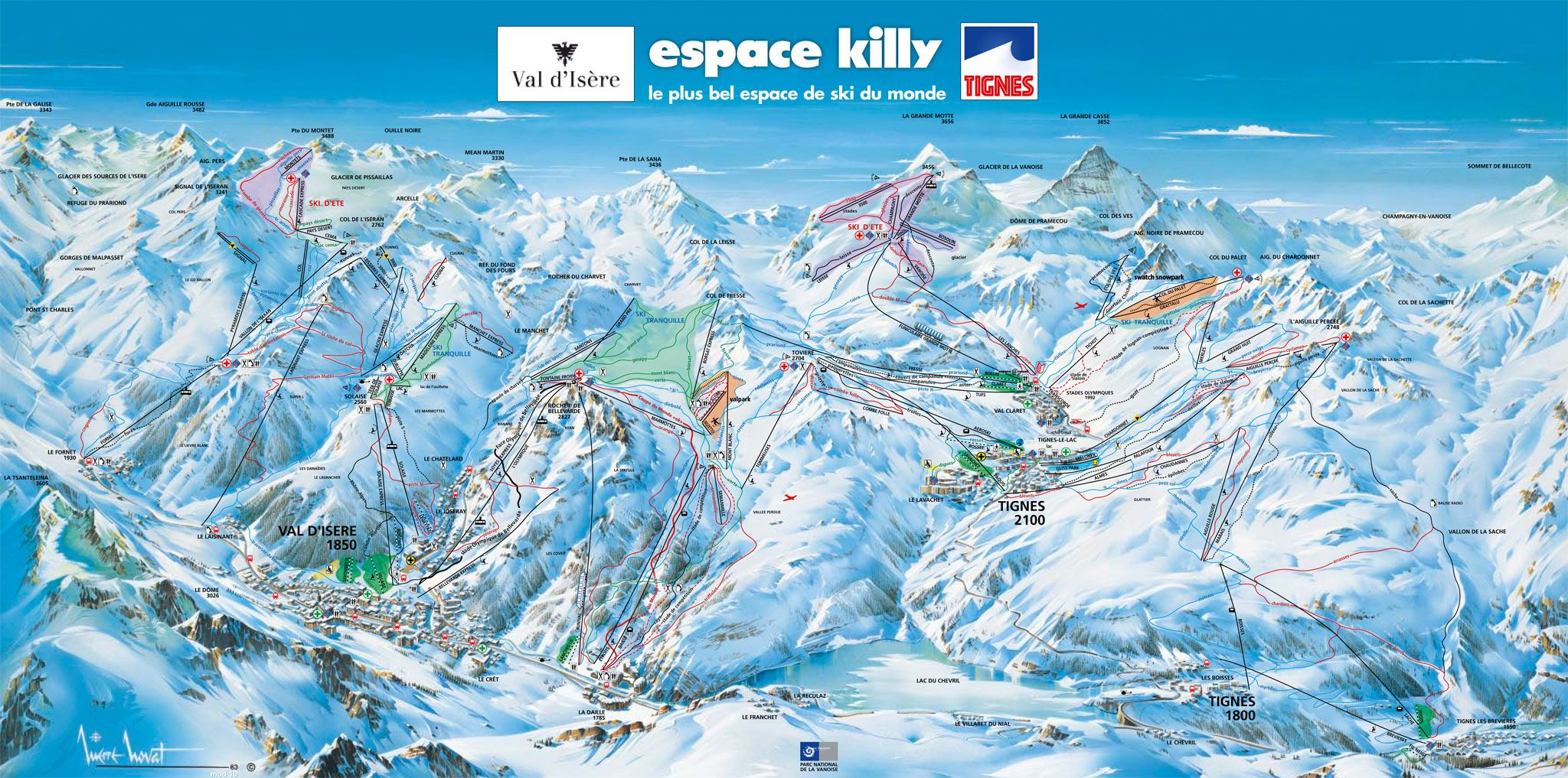 Skigebiet espace killy tignes val d is re - Office du tourisme val d isere telephone ...